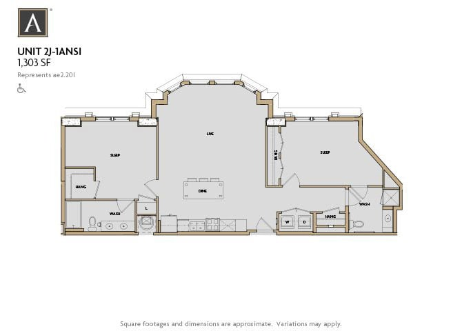 2J-1 ANSI FloorPlan at Aertson Midtown, Tennessee