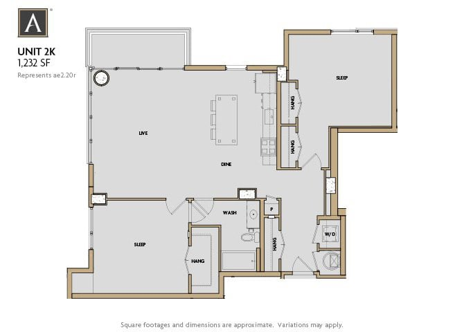 2K FloorPlan at Aertson Midtown, Nashville, TN, 37203