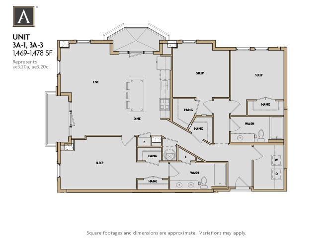 3A-1 | 3A-3 FloorPlan at Aertson Midtown, Nashville, TN, 37203
