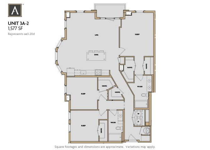 3A-2 FloorPlan at Aertson Midtown, Tennessee
