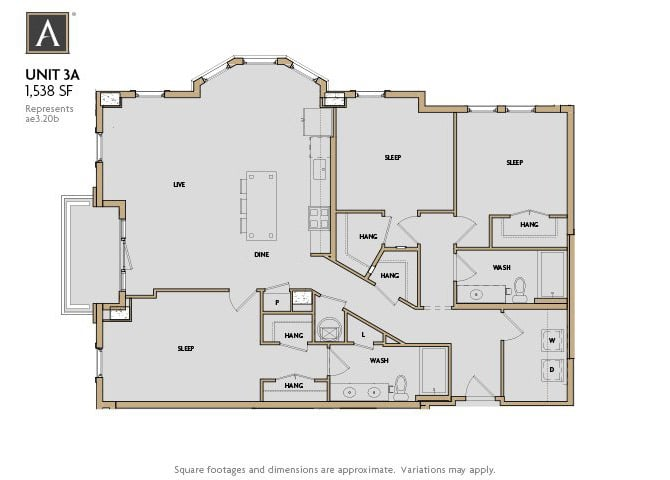3A FloorPlan at Aertson Midtown, Tennessee, 37203