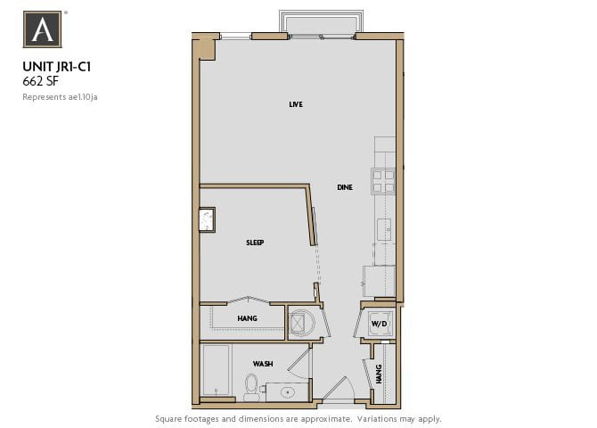 JR1-C1 FloorPlan at Aertson Midtown, Nashville, 37203