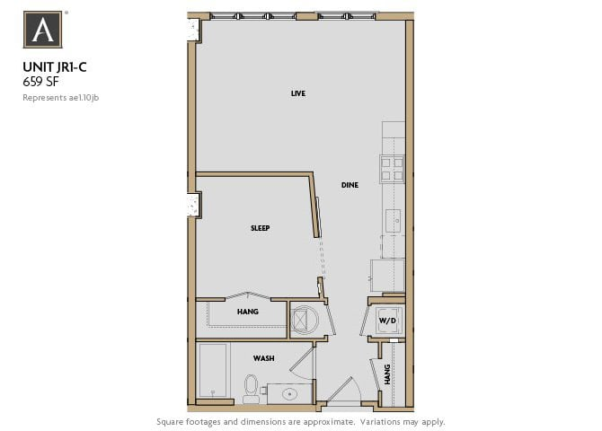 JR1-C FloorPlan at Aertson Midtown, Nashville, Tennessee