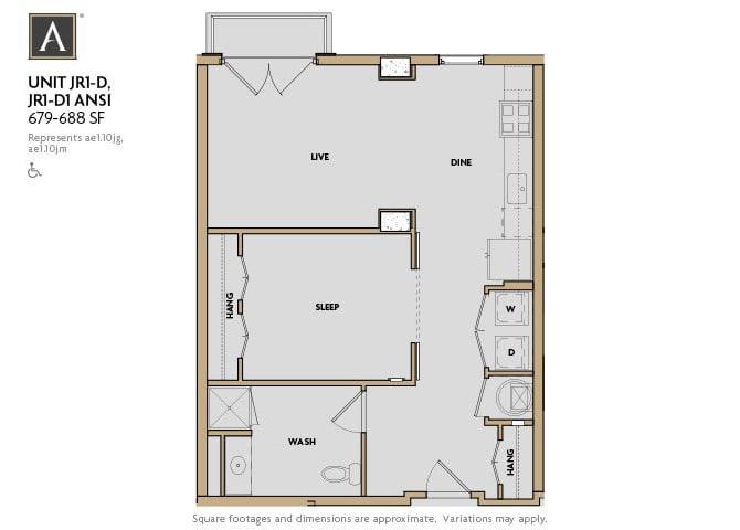 JR1-D | JR1-D1 ANSI FloorPlan at Aertson Midtown, Nashville, TN, 37203