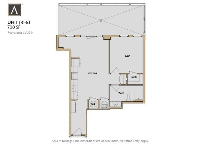 JR1-E1 FloorPlan at Aertson Midtown, Nashville, Tennessee