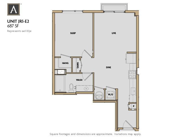 JR1-E2 FloorPlan at Aertson Midtown, Tennessee, 37203