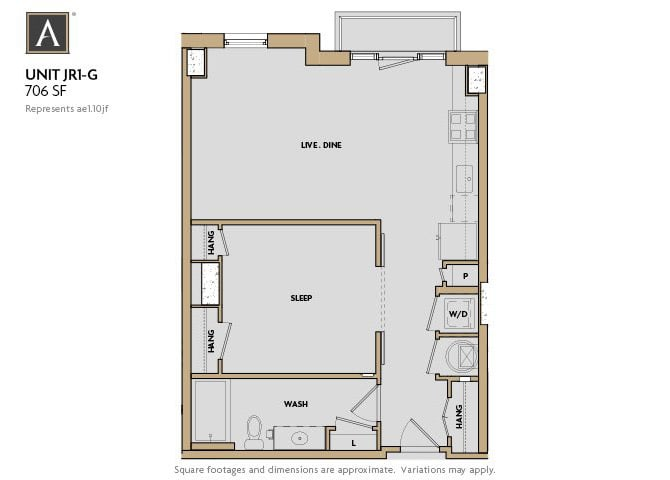JR1-G FloorPlan at Aertson Midtown, Nashville, 37203