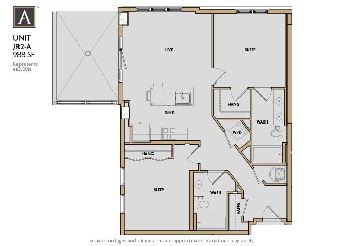 JR2-A FloorPlan at Aertson Midtown, Tennessee