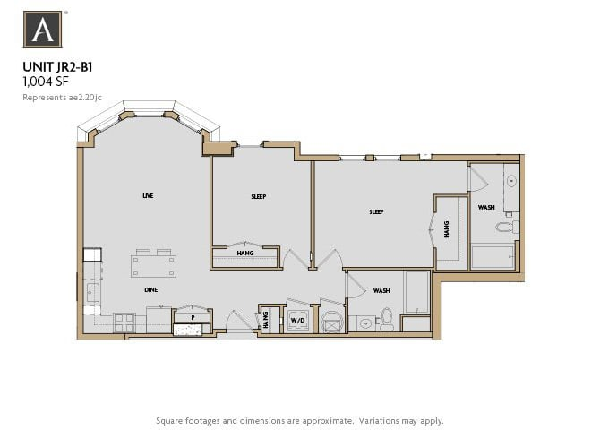 JR2-B1 FloorPlan at Aertson Midtown, Tennessee, 37203