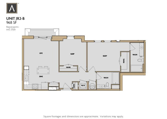 JR2-B FloorPlan at Aertson Midtown, Nashville