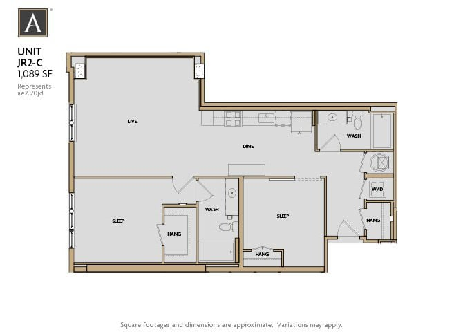 JR2-C FloorPlan at Aertson Midtown, Nashville, TN