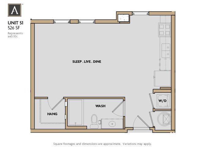 S1 FloorPlan at Aertson Midtown, Nashville, 37203
