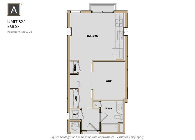 S2-1 FloorPlan at Aertson Midtown, Nashville, 37203