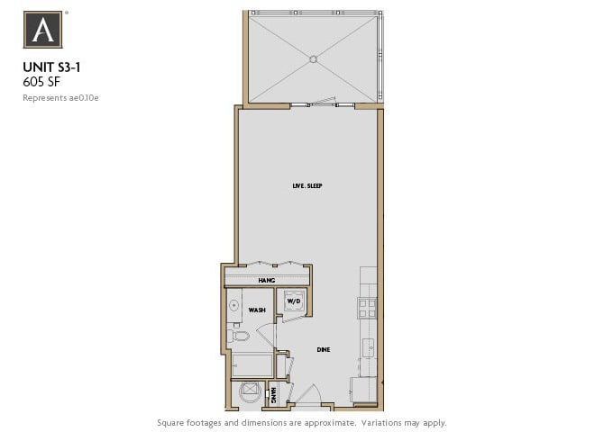 S3-1 FloorPlan at Aertson Midtown, Nashville, TN