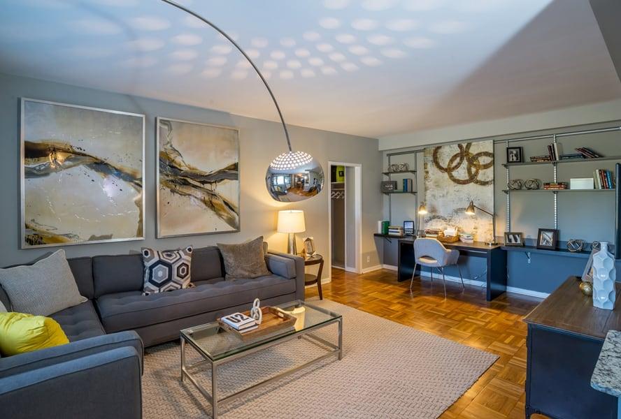 Large living area with high ceilings at Bridgeyard in Alexandria, VA