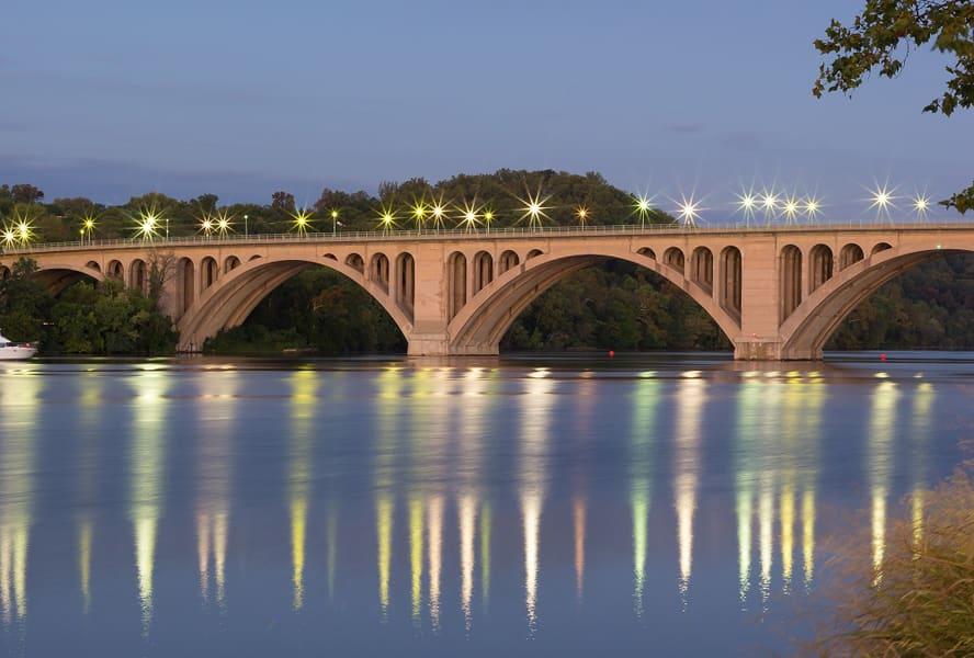View of bridge crossing the river near Bridgeyard in Alexandria, VA