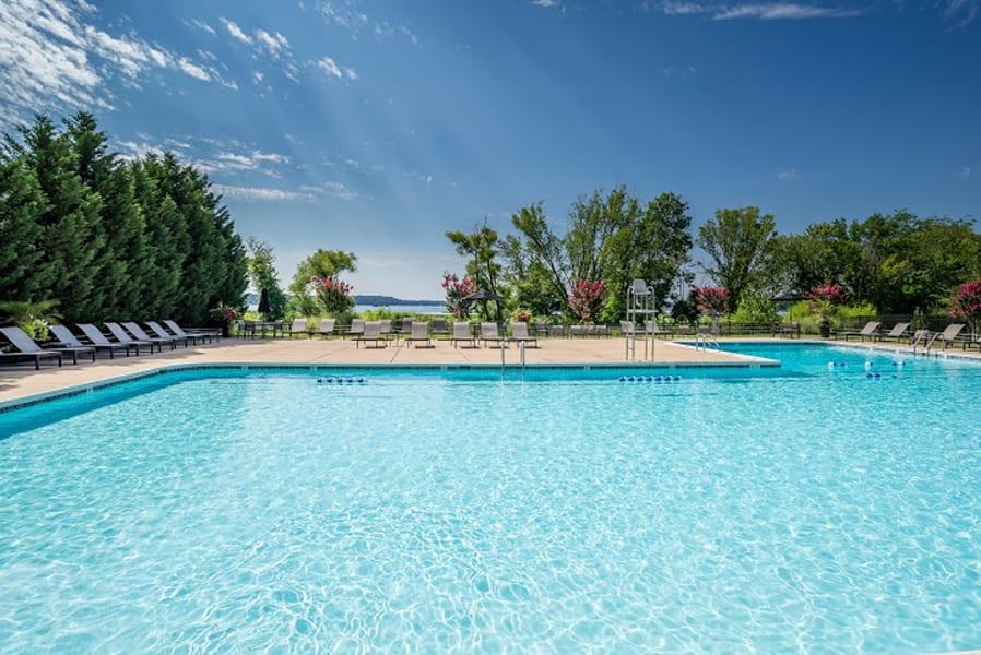 Large outdoor Olympic sized pool at Bridgeyard in Alexandria, VA