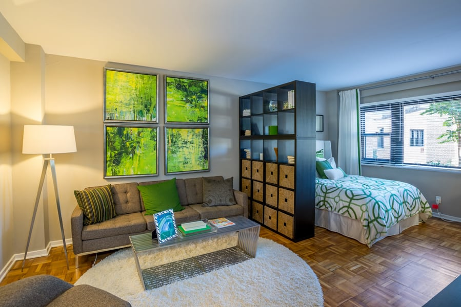 Open living area in studio floorplan with large windows at Bridgeyard in Alexandria, VA