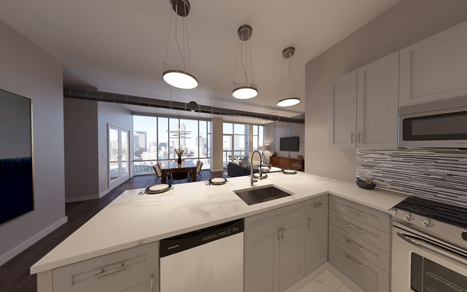 Elegant eat-in kitchen at CityWay, Indiana