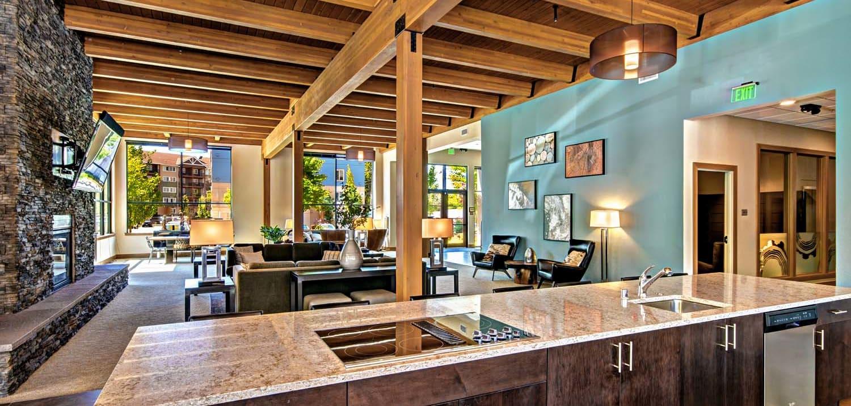 Posh Lounge Area In Clubhouse at Tivalli, Lynwood, WA