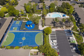 Top View Of Basketball And Tennis Court at Waterleaf, 333 North Emerald Drive
