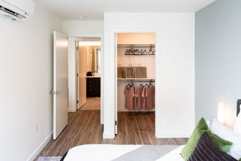 Spacious Bedroom With Large Closet and Wood Flooring at 10 Clay Apartments in Seattle, WA
