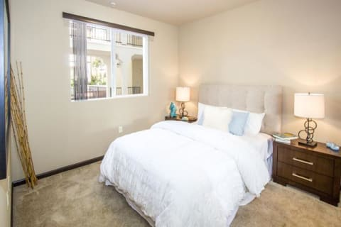 Transitional Master Carpeted Bedroom at Le Blanc Apartment Homes, Canoga Park, CA