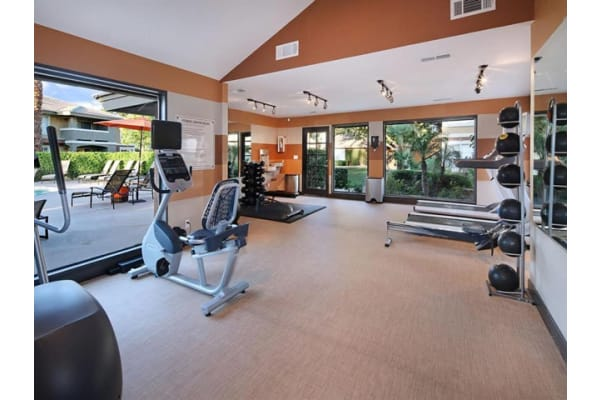 Cardio and Weight Lifting Equipment in Fitness Center at Mirabella Apartments, 40300 Washington Street, Bermuda Dunes