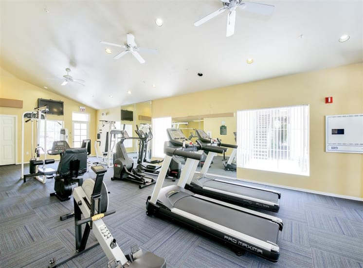 Cardio machines in gym at Ventana Apartment Homes in Central Scottsdale, AZ, For Rent. Now leasing 1 and 2 bedroom apartments.
