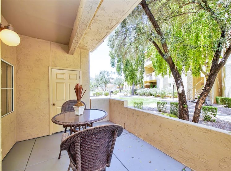 Spacious Patio at Ventana Apartment Homes in Central Scottsdale, AZ, For Rent. Now leasing 1 and 2 bedroom apartments.