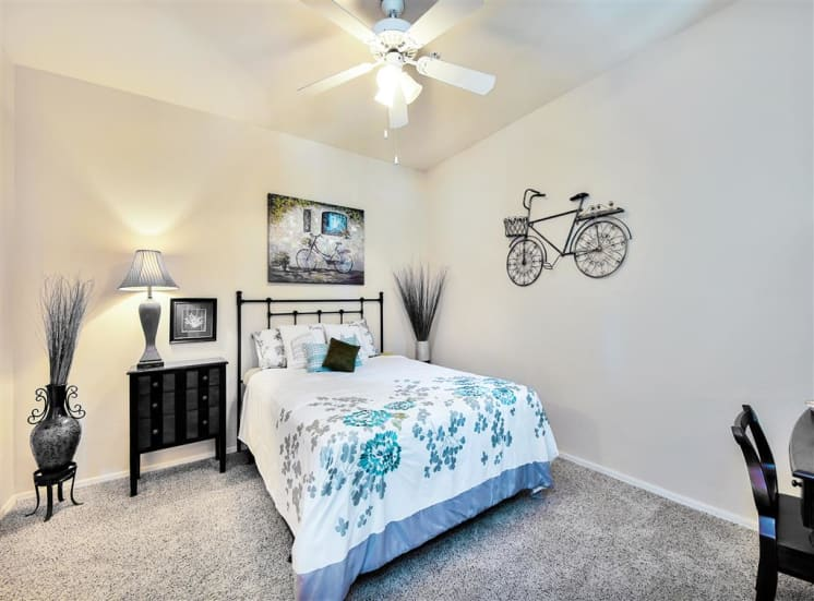 Large bedroom at Ventana Apartment Homes in Central Scottsdale, AZ, For Rent. Now leasing 1 and 2 bedroom apartments.