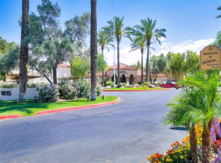 Beautiful, lush curb appeal at Ventana Apartment Homes in Central Scottsdale, AZ, For Rent. Now leasing 1 and 2 bedroom apartments.