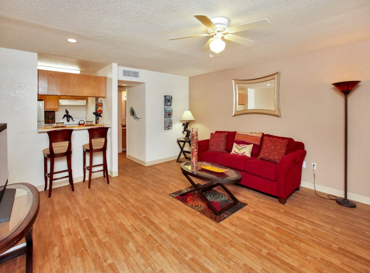 Spacious open concept living area of Pavilions at Pantano in Tucson, AZ, For Rent. Now leasing 1, 2 and 3 bedroom apartments.