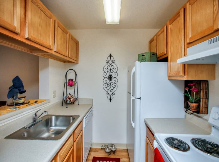 Large kitchen storage of Pavilions at Pantano in Tucson, AZ, For Rent. Now leasing 1, 2 and 3 bedroom apartments.