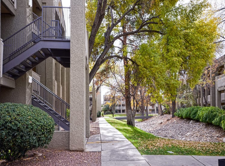Landscaped courtyard of Pavilions at Pantano in Tucson, AZ, For Rent. Now leasing 1, 2 and 3 bedroom apartments.