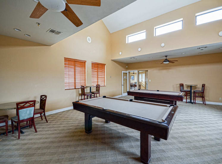 Billiards table in Clubhouse of Pavilions at Pantano in Tucson, AZ, For Rent. Now leasing 1, 2 and 3 bedroom apartments.