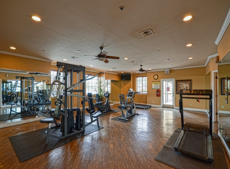 Spacious fitness center with cardio and weight training of Pavilions at Pantano in Tucson, AZ, For Rent. Now leasing 1, 2 and 3 bedroom apartments.