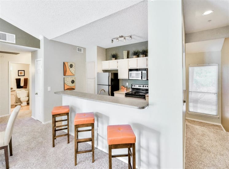 Pass through bar counter at The Winsted at Valley Ranch in Irving, TX, For Rent. Now leasing 1 and 2 bedroom apartments.
