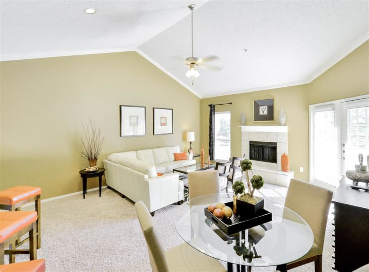 Fireplace in open concept floor plan at The Winsted at Valley Ranch in Irving, TX, For Rent. Now leasing 1 and 2 bedroom apartments.