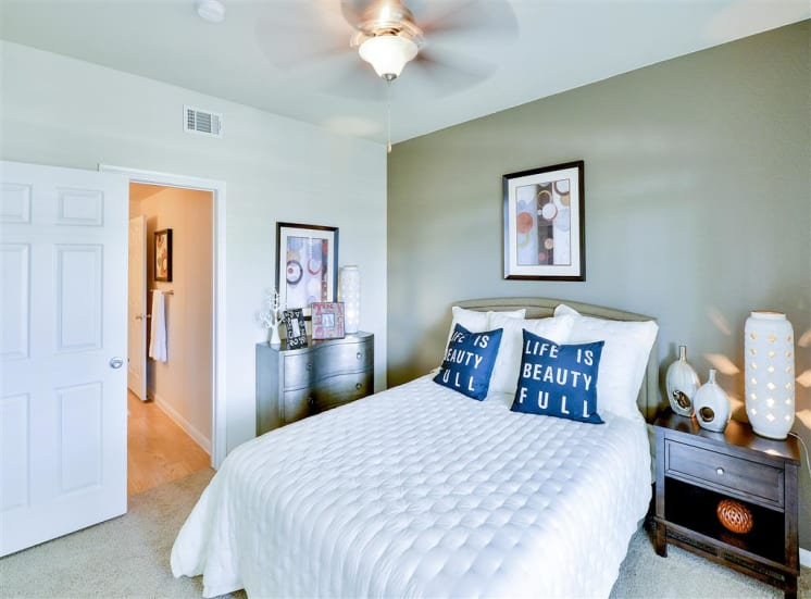 Spacious bedroom at Bentley Place at Willow Bend Apartments in West Plano, TX, For Rent. Now leasing 1, 2, and 3 bedroom apartments.