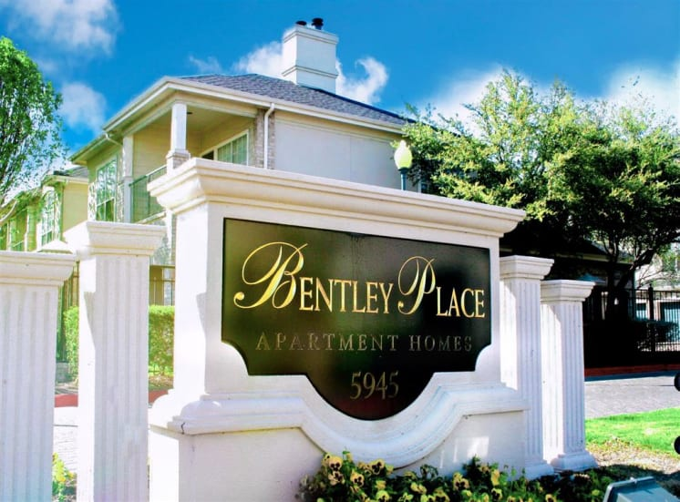 Front entrance of Bentley Place at Willow Bend Apartments in West Plano, TX, For Rent. Now leasing 1, 2, and 3 bedroom apartments.