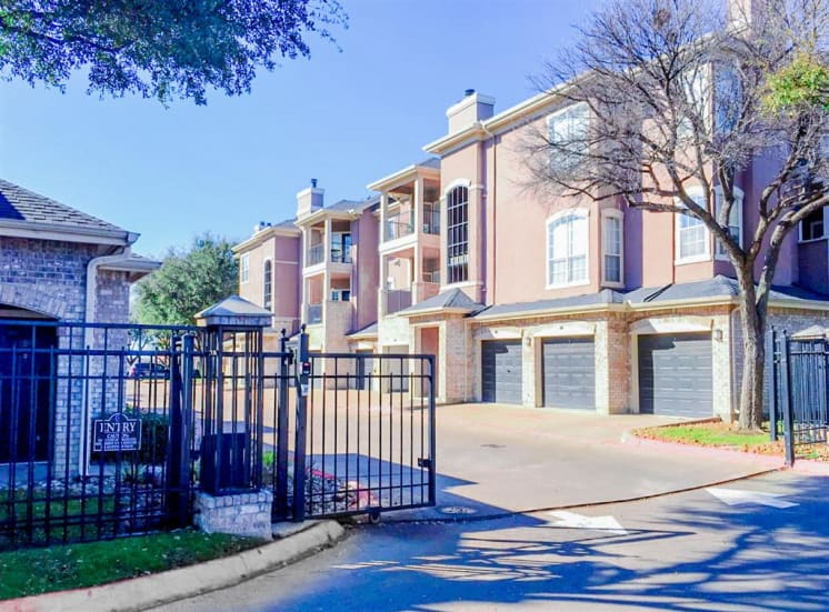 Gated access at Bentley Place at Willow Bend Apartments in West Plano, TX, For Rent. Now leasing 1, 2, and 3 bedroom apartments.
