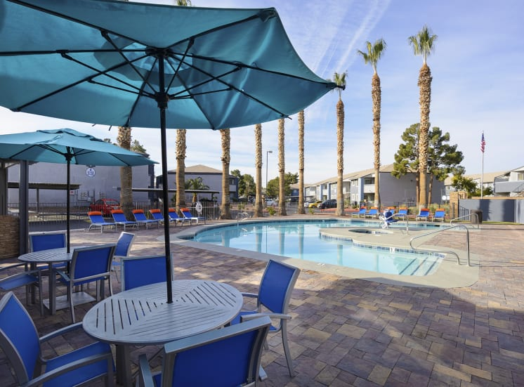 Pool Side Relaxing Area at The Bristol at Sunset, Henderson, NV, 89014