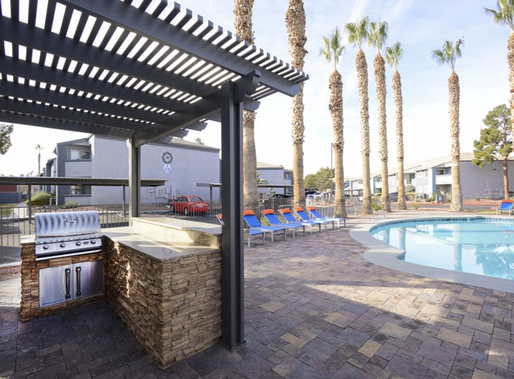 Pool Cabana & Outdoor Grilling Area at The Bristol at Sunset, Henderson, NV