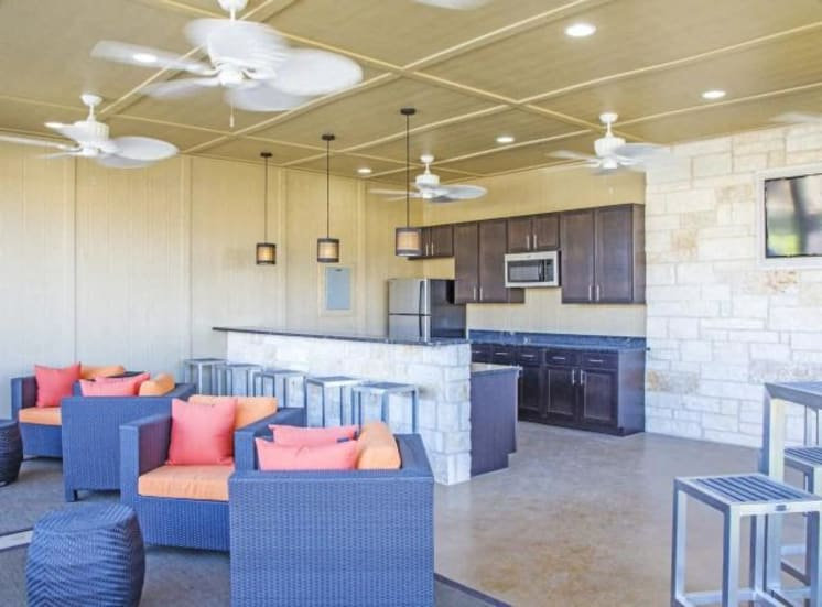 Clubhouse with Kitchen Appliances at Arrington Ridge, Round Rock