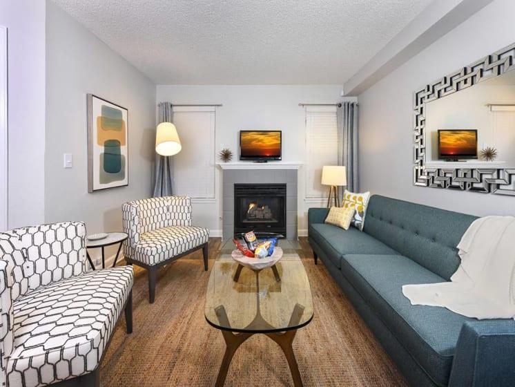 Contemporary Living Room at Verdant Apartment Homes, Boulder, Colorado