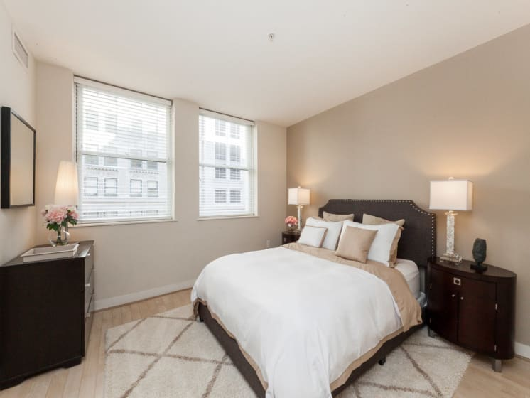 Beautiful Bright Bedroom With Wide Windows at The Woodward Building Apartments, Washington, DC