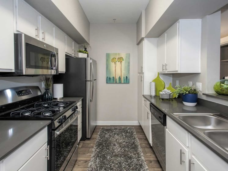 Gray Cabinetry And Appliances In Kitchen at Marina Village, Sparks, 89434