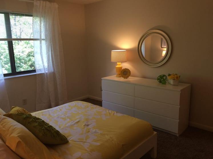 Bedroom With Expansive Windows at Fox Run, Dayton, Ohio