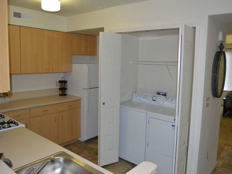 Full size washer and dryer in every apartment at Stoney Pointe Apartment Homes, Wichita, KS